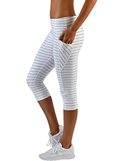 39af86c977705 Glyder Define Sports Bra  White Black Pinstripe at Amazon Women s ...