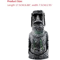 Sizet Fishing Aquarium Décor Resin Easter Island Stone Head for Fish Tank Decoration (Large)