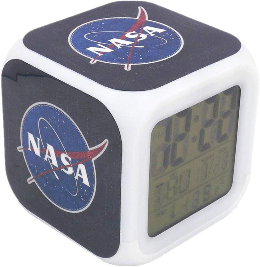 Boyan New NASA Space Aerospace Blue Led Alarm Clock Creative Desk Table Clock Multipurpose Calendar Snooze Glowing Led Digital Alarm Clock for Unisex Adults Kids Toy Gift