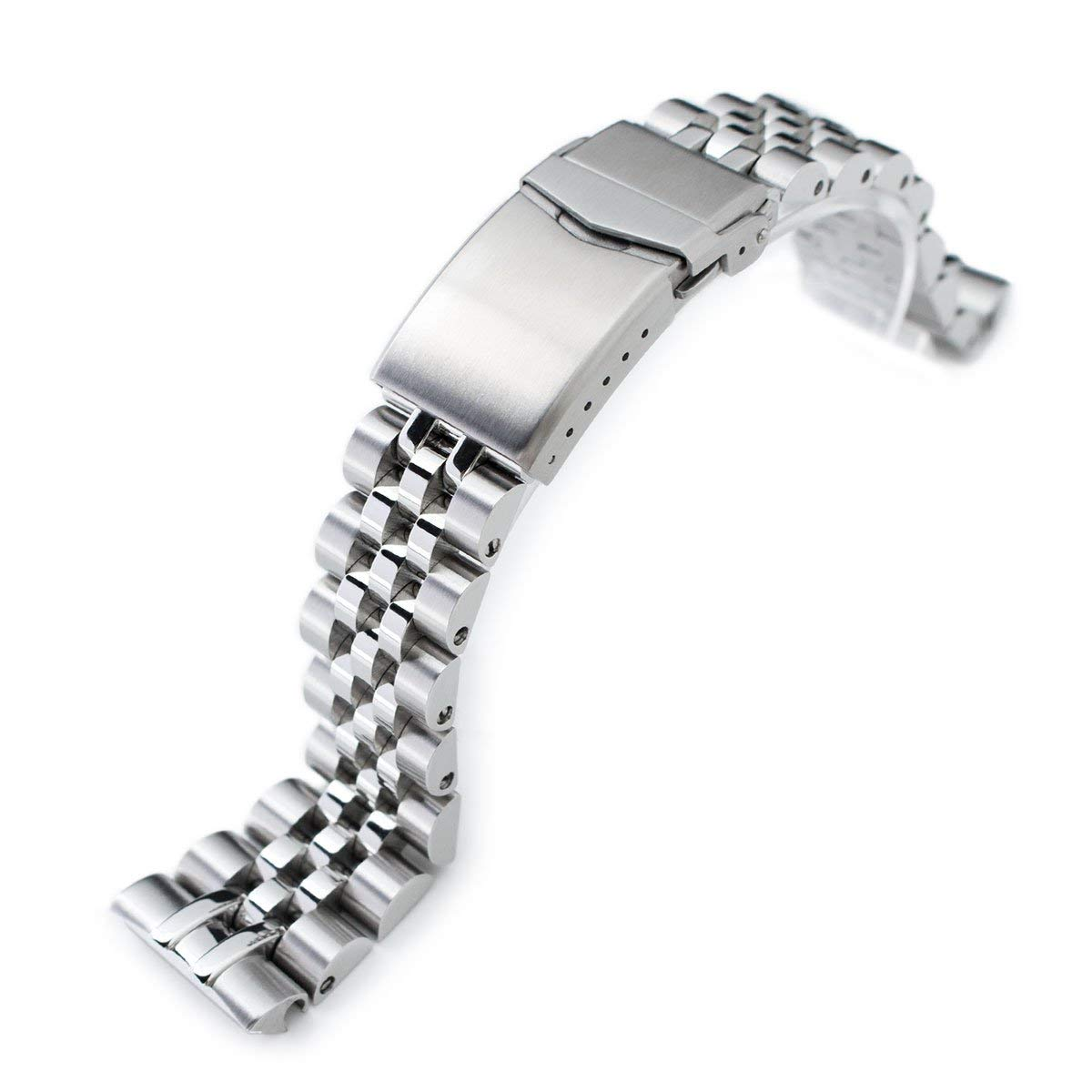 22mm Angus Jubilee 316L SS Watch Bracelet for Seiko Turtle SRP777, Brushed & Polished, V-Clasp