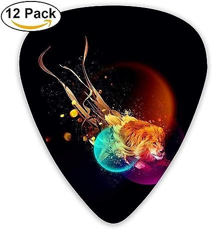 Sherly Yard 12 Pack Púas de guitarra personalizadas Fire Lion of Black Bcakground Bajo estándar Guitarrista Regalos de música: Amazon.es: Instrumentos musicales