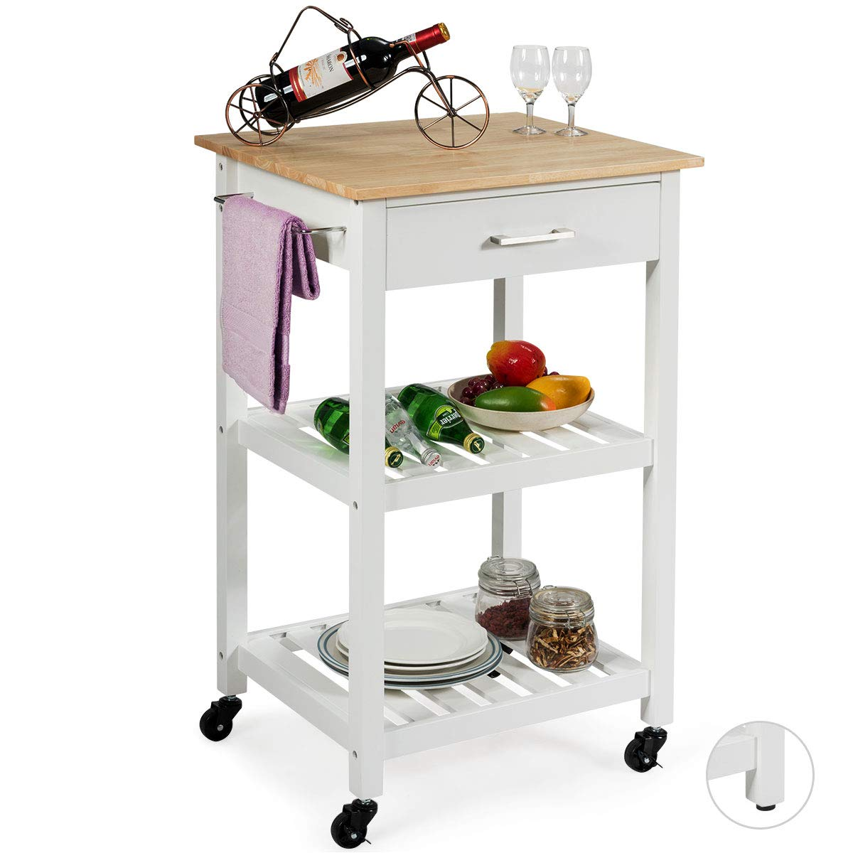 Giantex Kitchen Island Cart Multifunction Rolling Trolley Small Wood Cart with Drawer, 2 Shelves, Towel Rack White