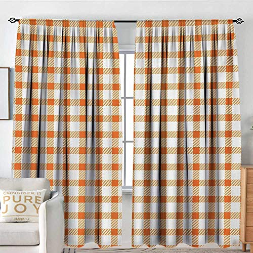 Bedroom Blackout Curtain Panels Orange and White,Retro Gingham Style Checkered Squares Pattern in Warm Colors Plaid,Orange and White,All Season Thermal Insulated Solid Room Drapes - Tab Top Basics Gingham
