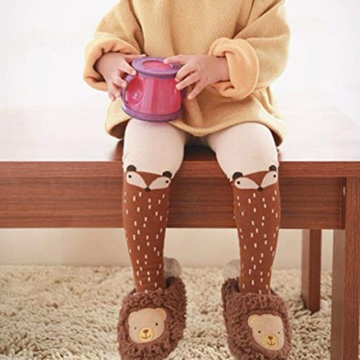 WANGSAURA Baby M/ädchen Baumwoll Fuchs Gedruckt Strumpfhosen Warm Krabbelstrumpfhose Socken Leggings Strumpf M//3-4 Jahre, Braun