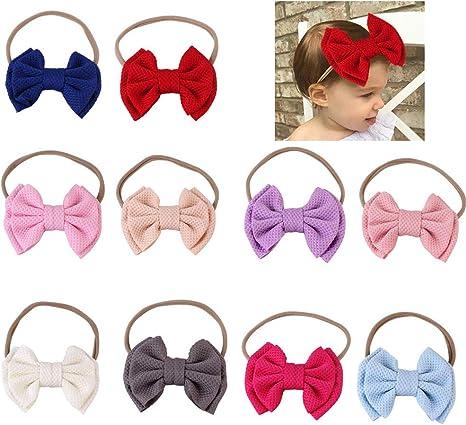 homese 10 Pack Baby Girl Diademas y arcos Nylon suave elástico ...