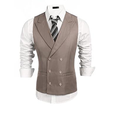 a92c6da8937 modfine Hommes Gilet de Costume Slim Fit sans Manche Veste pour  Business Mariage Soirée