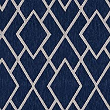 Navy Blue Cream Beige Taupe Woven Jaquard N A Upholstery Fabric by the yard