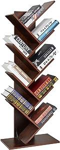 SUPERJARE 9-Shelf Tree Bookshelf, Floor Standing Tree Bookcase in Living Room/Home/Office, Bookshelves Storage Rack for CDs/Movies/Books - Walnut Brown