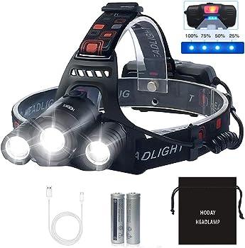 Hoday Bright 6000 Lumen USB Rechargeable Waterproof LED Headlamp