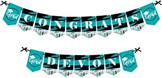 product image for Big Dot of Happiness Personalized Teal Grad - Best is Yet to Come - Custom Turquoise 2021 Graduation Party Bunting Banner and Decorations - Congrats Custom Name Banner
