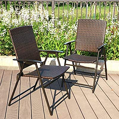 Super Phi Villa Patio Rattan Folding Chair Indoor Outdoor Wicker Chair 2 Pack Machost Co Dining Chair Design Ideas Machostcouk