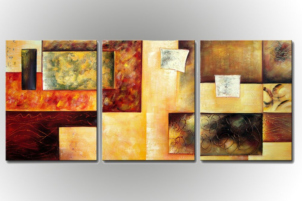 Sweety Decor 100% Handpainted Contemporary Art Abstract Paintings Living Room Decor Ready to Hang 3 Panels 1624inch3pcs