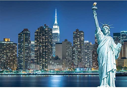 Amazon Com Yongfoto 5x3ft The Statue Of Liberty Photography Backdrop Manhattan Building Background City Landmark Night Scene Wedding Travel Holiday Party Banner Kids Adult Portrait Studio Props Wallpaper Camera Photo