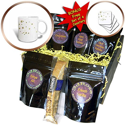 3dRose PS Chic - Gold Sky of Stars - Coffee Gift Baskets - Coffee Gift Basket (cgb_265688_1)