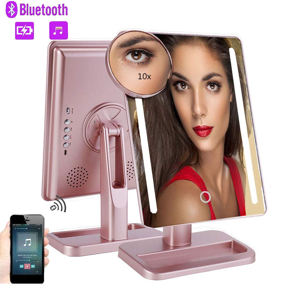 Makeup Mirror Vanity Mirror with Lights-Bluetooth Speaker, 1x/10x Magnification, Led Lighted Mirror with Touch Screen, Rechargeable Cosmetic Lighted Up Mirror for Home Tabletop Bathroom Travel