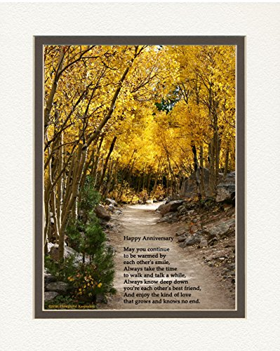 Anniversary Gift for Couple. Aspen Path Photo with ''Happy Anniversary'' Poem, 8x10 Double Matted. Special Gift for Anniversary by Anniversary & Wedding Gifts