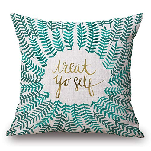 Aremazing Cotton Linen Home Decor Pillowcase Throw Pillow Cushion Cover 18 x 18 Inches Inspirational Quotes with Beautiful Flowers/Leaves (Treat Yourself)