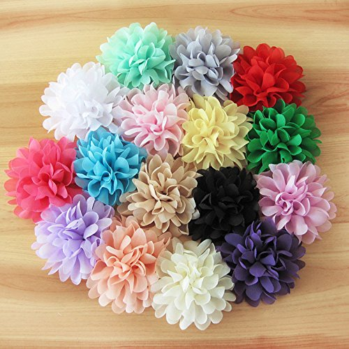 Winrase® Set of 16 Different Colors Handmade Chiffon Flowers Without Clip for Kids Headdress