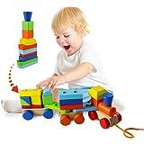 ACOOLTOY Legno Geometriche Blocchi dei Treni Costruzione Stacking Kit di Montaggio Giocattolo Tirare Lungo Puzzle per Bambini 18 Mesi +