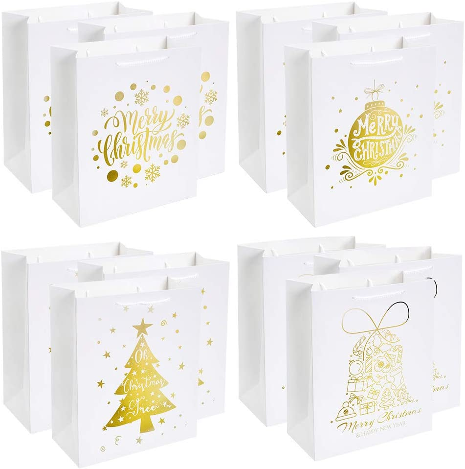 UNIQOOO 12 Pack Large Merry Christmas Holiday Gift Bags 4 White /& Metallic Gold Foil Designs for Christmas Presents Perfect for Wrapping Stocking Stuffers New Year Party Favors
