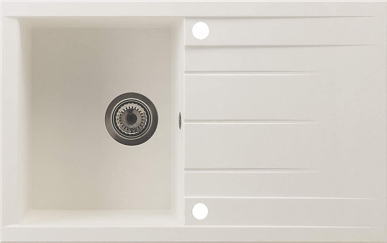 60/% Material Compuesto de minerales y Fibra de Vidrio respekta HOUSTON80X50W Fregadero 80 x 50 cm Blanco 40/% Resina sint/ética