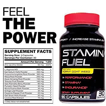 Stamina Fuel – Increase Stamina, Size, Energy, and Endurance and More with Muira Puama, Cayenne and Horny Goat Weed Formula to Maximize Physical Performance Endurance All Day 90 Caps