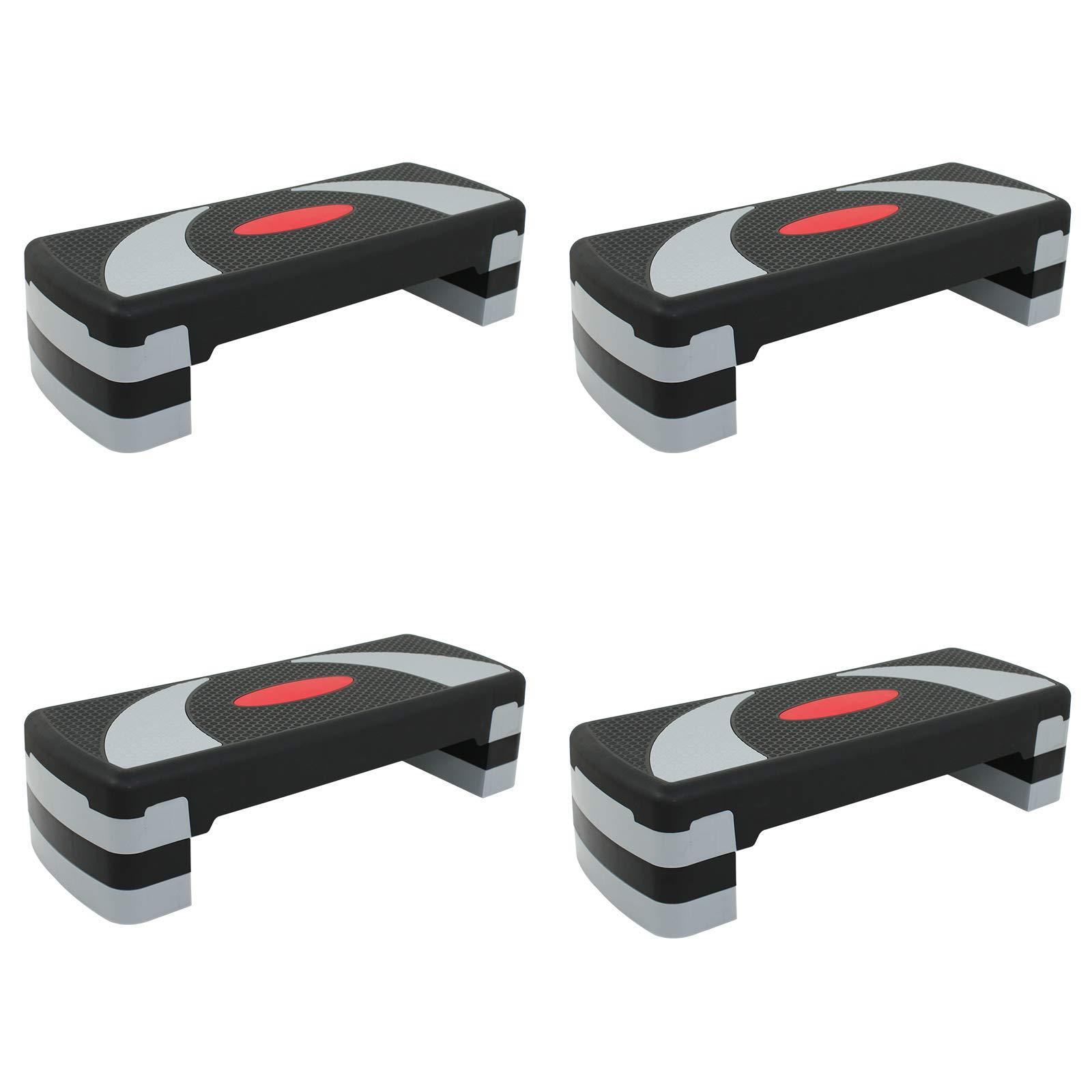 ZENY 30'' Aerobic Step Aerobics Trainer Adjustable Exercise Fitness Workout Stepper Adjust 4'' - 6'' - 8'' (Set of 4)