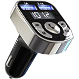 Niukamo Bluetooth FM Transmitter for Car Blue Tooth Receiver Charger MP3 Player In-Car Quickly Charging Wireless Stereo Radio Adapter Kit Hands Free Calling Dual USB Ports Charge 5V/2.1A & 1A