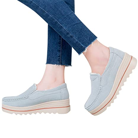 Amazon.com: Todaies Women Flats Muffin Shoes Sneakers Leather Casual Shoes Creepers Moccasins: Health & Personal Care