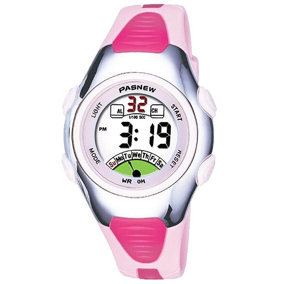Reloj de Pulsera para niños 30 m Impermeable Deportivo LED Alarma cronómetro Digital Reloj de Pulsera para niño niña Regalo Rosa: Amazon.es: Relojes