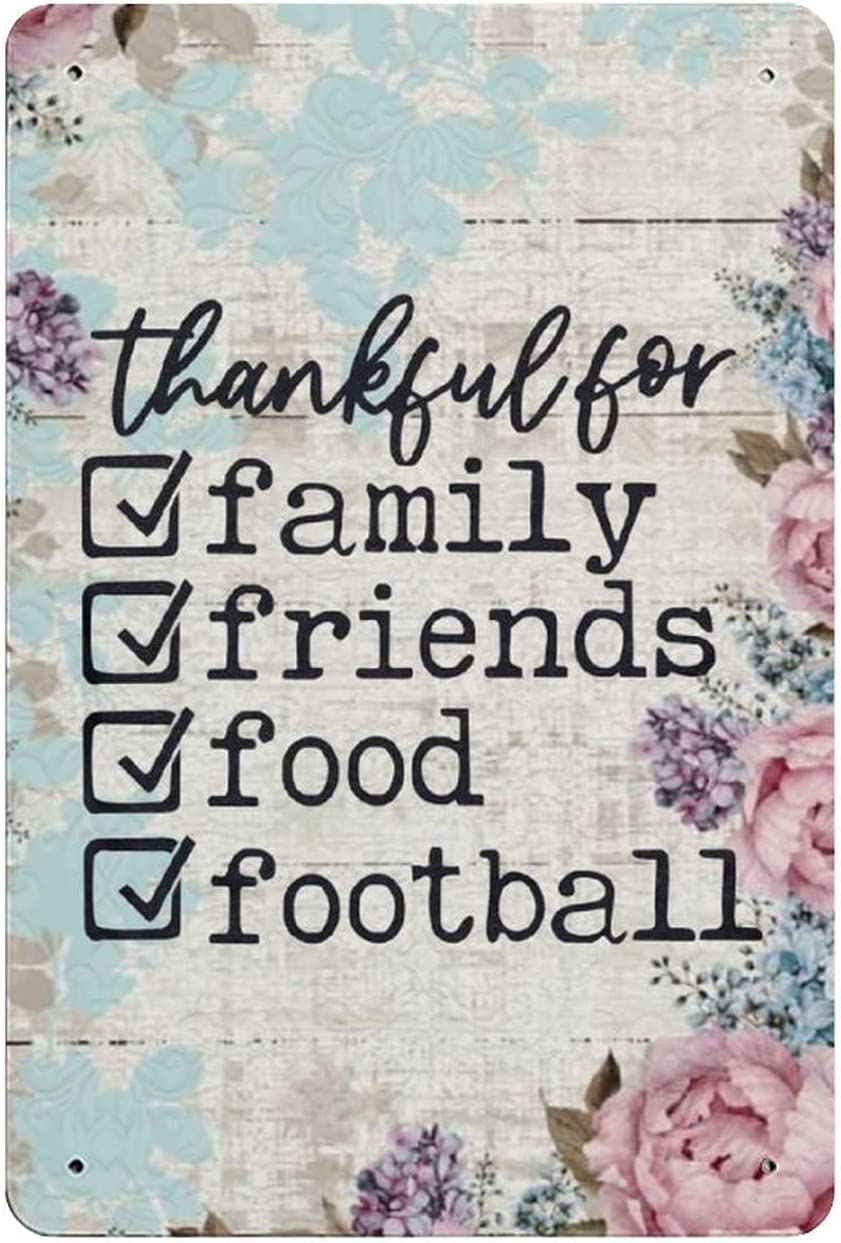 by Unbranded Retro Metal Sign Thankful for Family Friends Food Football, Fall, Autumn, Thanksgiving, Rustic Tin Sign Decor Funny Vintage Wall Plaques Art Poster for Home Bar Outdoor or Indoor