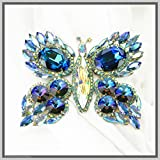 Hand Made Jewelry Art Butterfly Brooch Pin Exotic Blue Winged Swarovski Crystal Rhinestones
