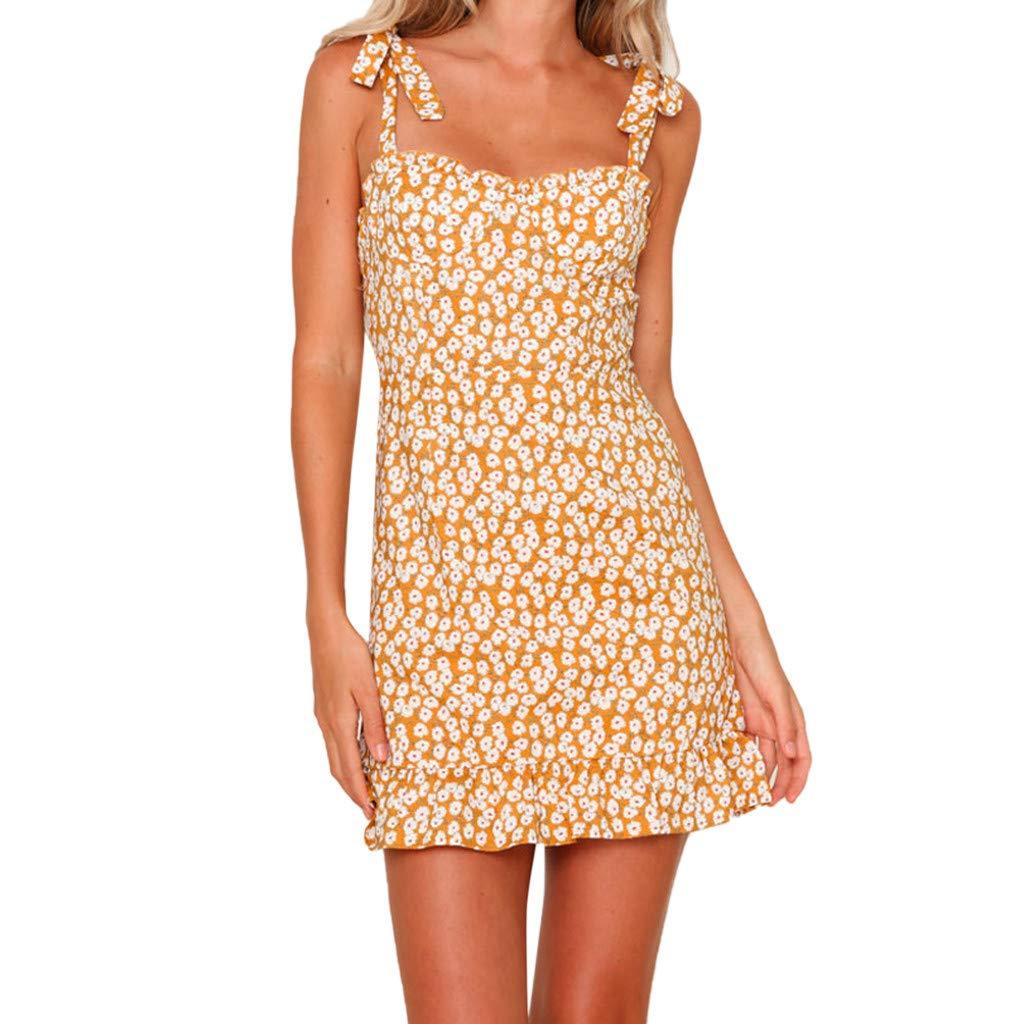 Euone Dress Clearance, Woman Bohemia Holiday Summer Dress Floral Print Bowknot Sling Mini Dresses Ruffles Bodycon Sexy Beach Party Sundress