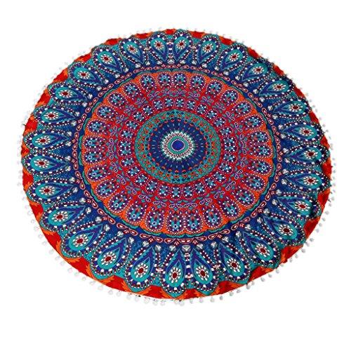 Creazy® Large Mandala Floor Pillows Round Bohemian Meditation Cushion Cover  (Color D)