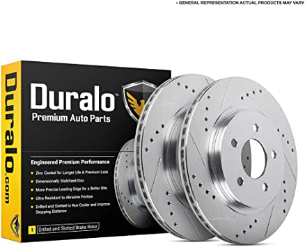 Front PowerSport Slotted Brake Rotors Disc and Ceramic Pads Fusion,Milan