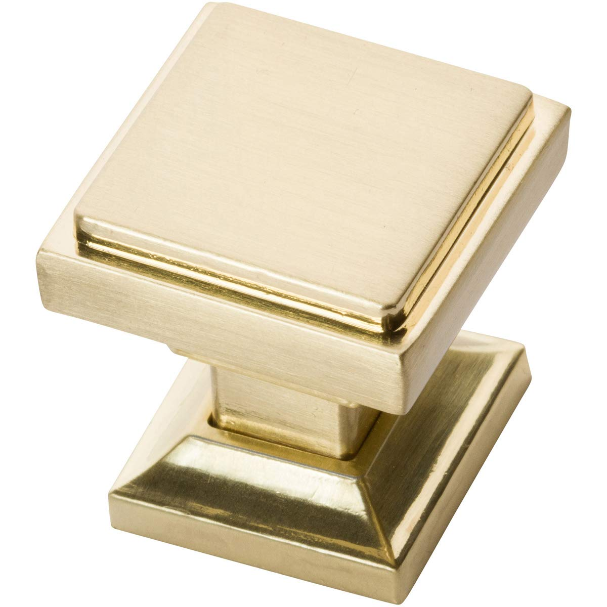 Southern Hills Satin Brass Square Cabinet Knobs - Pack of 5 -Brushed Brass Kitchen Pulls - Brushed Brass Cabinet Hardware - Cupboard Drawer Knobs SHKM002-BRS-5