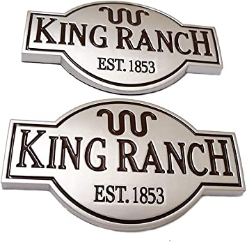 3pcs OEM King Ranch Front Door Tailgate Emblems Badge 3D Nameplate Replacement for F150 F250 F350 Genuine Silver
