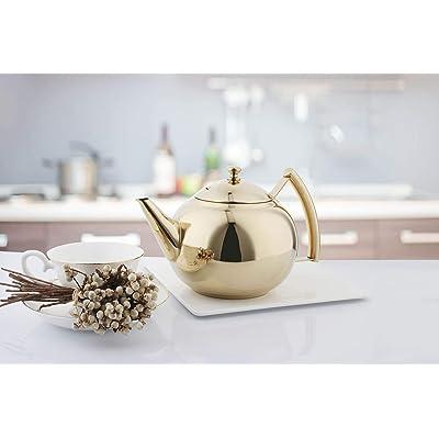 Stainless Steel Teapot Coffee Pot With Tea Leaf Infuser Kitchen Kettle Teakettle