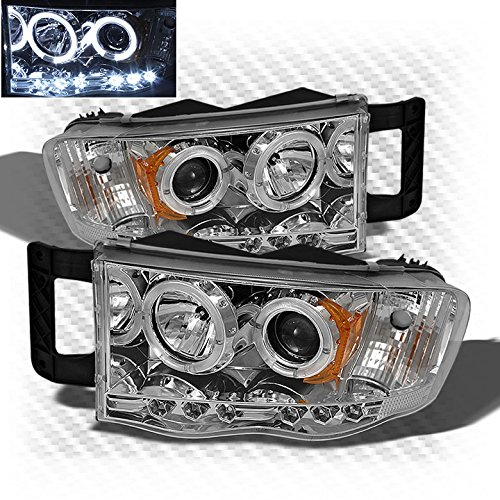 2002-2005 Dodge Ram Dual Halo LED Projector Headlights Head Lights Lamp Pair Left+Right 2003 2004 (Dual Halo Projector Headlights Lamps)