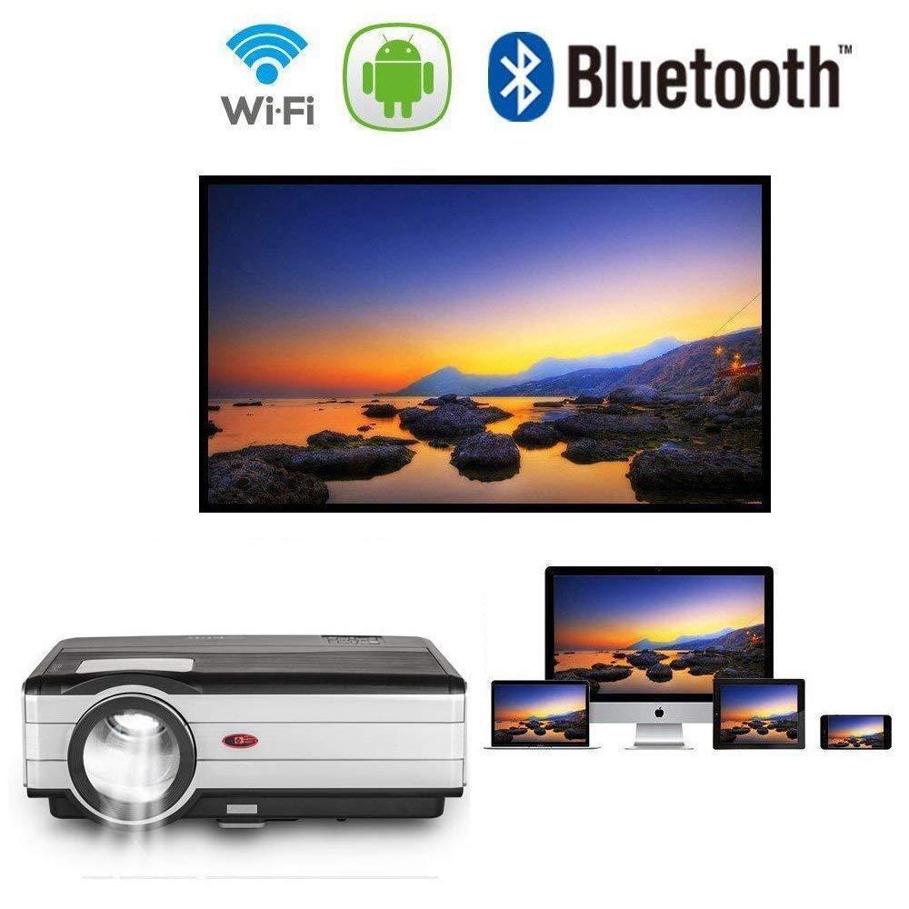 LEDプロジェクター ワイヤレスAndroid6.0 Bluetooth WiFi 3500ルーメン1080P ホームシアター 映画館 ビデオ ゲーム アウトドア パーティーなど適用 HDMI USB VGA 3.5mmオーディオジャック内蔵スピーカー   B078SPXG24