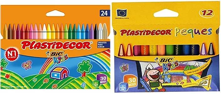 BIC Kids Plastidecor- Blíster de 24 unidades, ceras para colorear, colores surtidos + Plastidecor Peques Estuche con 12 ceras: Amazon.es: Oficina y papelería