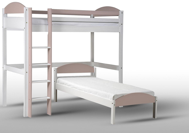 Design Vicenza Maximus L Form Hochbett, Holz, Weiß mit Rosa Details, Single