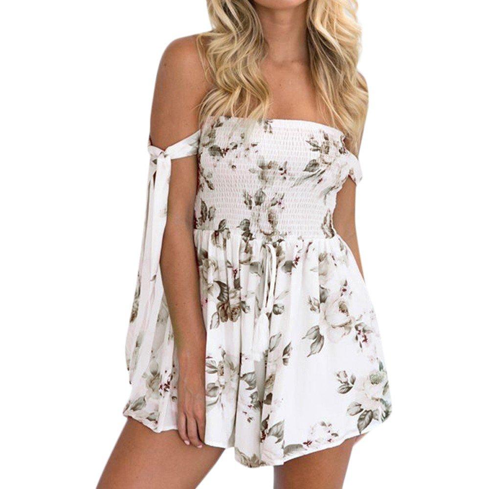 Nevera Ladies Playsuits,Women's Floral Print Self Tie High Waist Jumpsuit Rompers White
