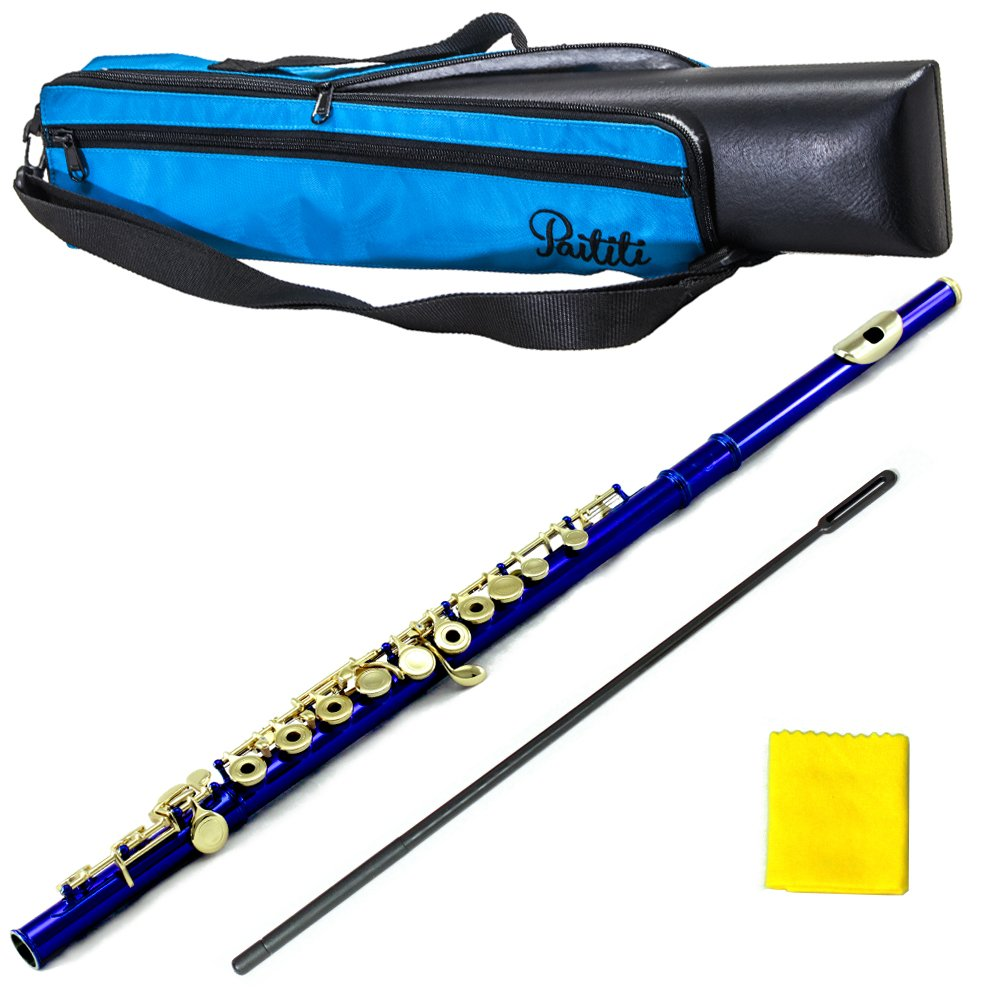 PAITITI Blue Plated Gold Key Open Hole C Flute with 1 Year Manufacturer Warranty, Guarantee Top Quality Sound with Lightweight Case, Case Cover, Cleaning Rod, Cloth, Joint Grease and Screw Driver