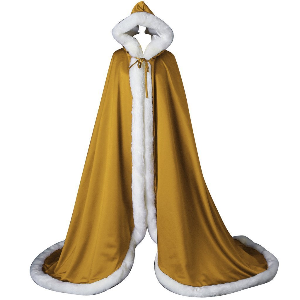 Wedding Cape Bridal Cloak Long Faux Fur Cloak with Hood Outerwear Cloak (145cm, Gold) by Portsvy