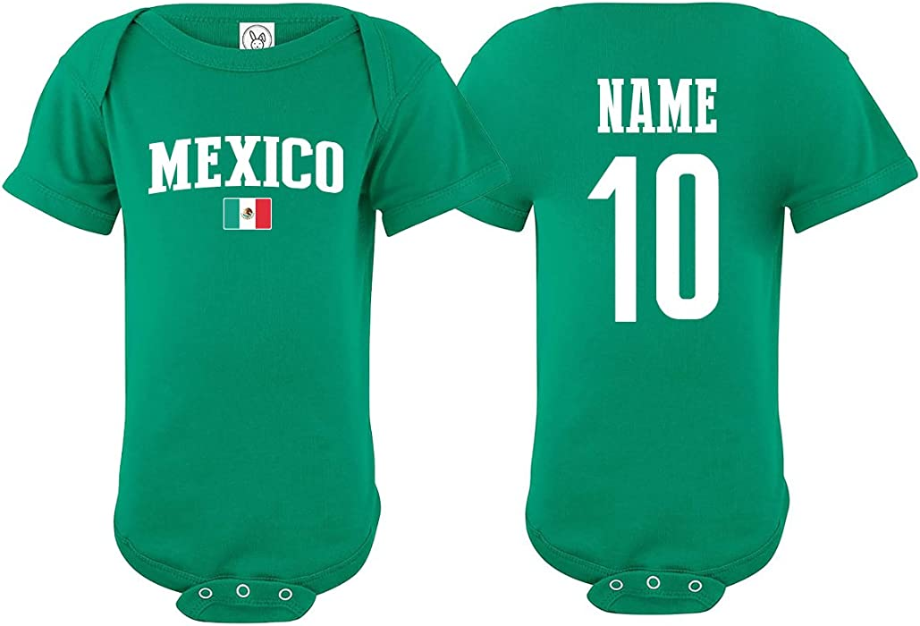 Mexico Bodysuit Soccer Infant Baby Girls Boys Personalized Customized Name  and Number (T-Shirt 942b9c8661d