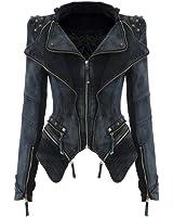 LATH.PIN Schicke Biker Jeansjacke mit Nieten Damen Jacke Übergangsjacke mit Reißverschluss Smoking Mantel