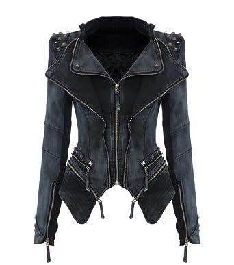 Mailanda Damen Très Nieten Schulterpolster Biker Spike Blazer Mantel Chic Punk Smoking Studs Jacke JacketlGrau PkXiZu