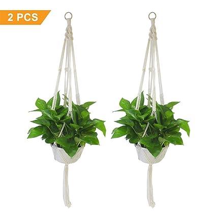 Hipatoo Classic Macrame Plant Hanger For Hanging Holder Flower Baskets Pot,  Cotton Rope Hanging Planter