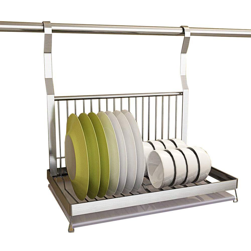 移動可能な掛かる棒が付いている台所棚の皿の棚のステンレス鋼の壁の台紙 B07RT7X9L8